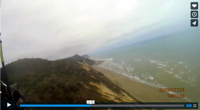 Paragliding video showing the beautiful Pajonal coastline between San Clemente and Bahia de Caraquez.