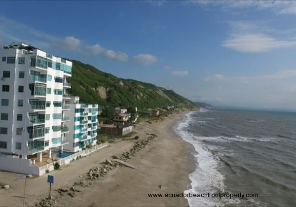 View of the condos facing south. At low tide you can walk the beach for miles