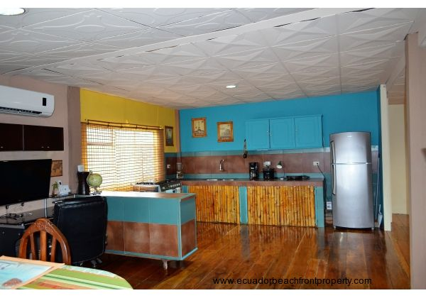 kitchen. Fully stocked!  Pots, pans, dishes, cookware, silverware, utensils, and small appliances included