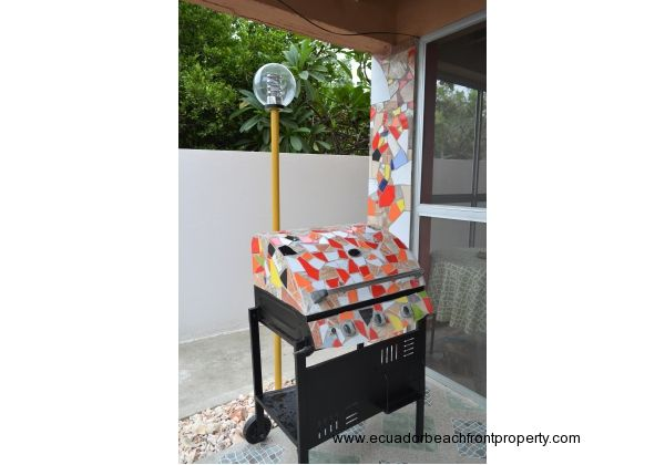 custom gas grill and outdoor light