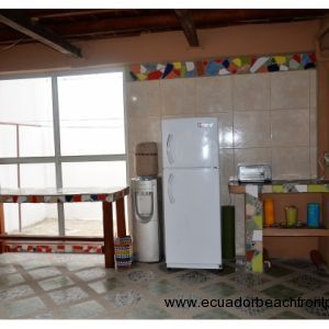 Kitchen work stations.  Durex refrigerator, toaster oven, Electrolux 5 gal water dispenser with hot/cold water