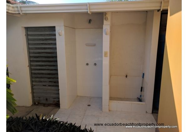 Outdoor shower and outside storage space