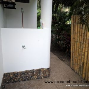 Outdoor shower on the southern side of the home