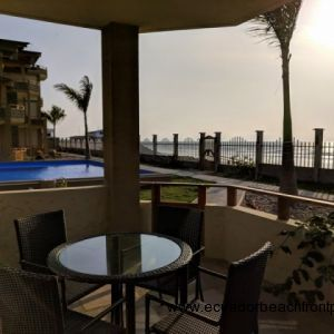 Gorgeous covered patio just steps to the 60 ft pool and beach