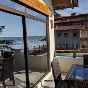 Spacious oceanfront balcony