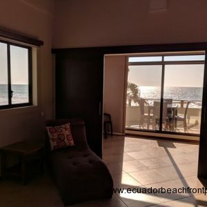 2nd bedroom opens up to a bonus living area and sliding doors to the oceanfront balcony
