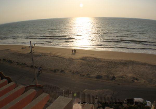 Enjoying the sandy beach near sunset
