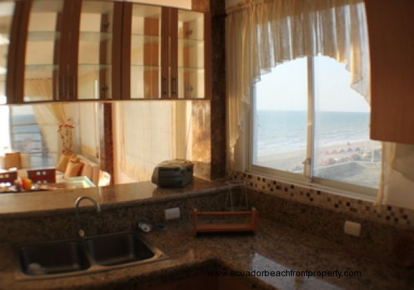 View from the kitchen - ample windows, natural light and ocean views for the chef