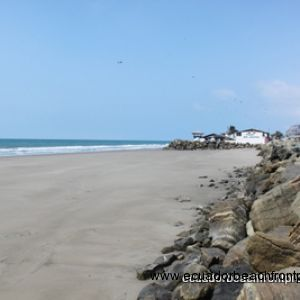 Across the street are steps that lead to the beach (shown here at low tide)