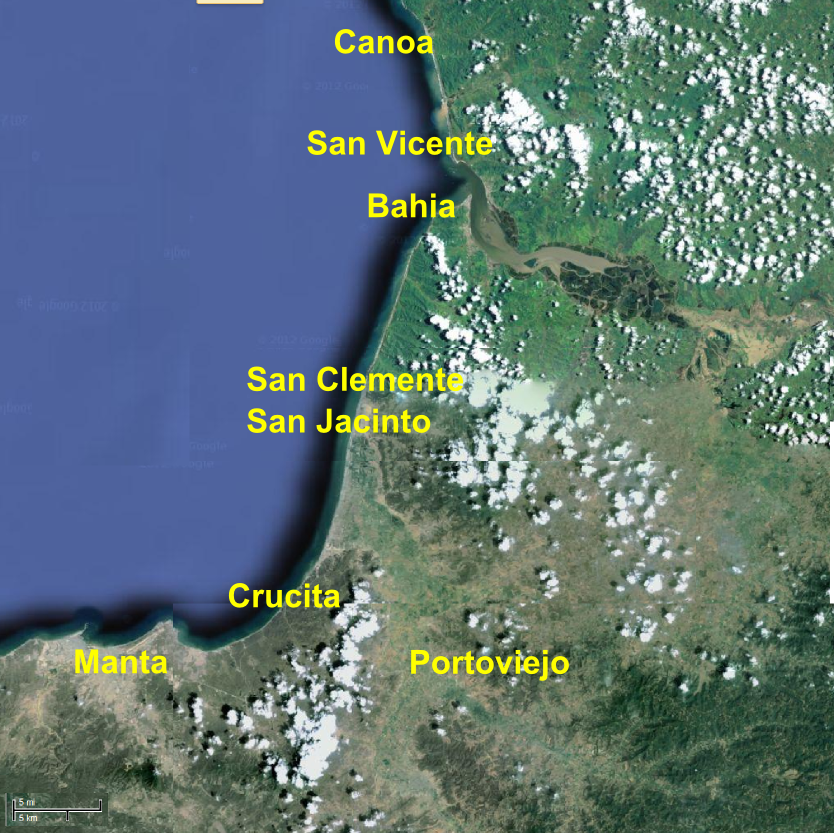 Major cities and towns along Ecuador's Central Coast