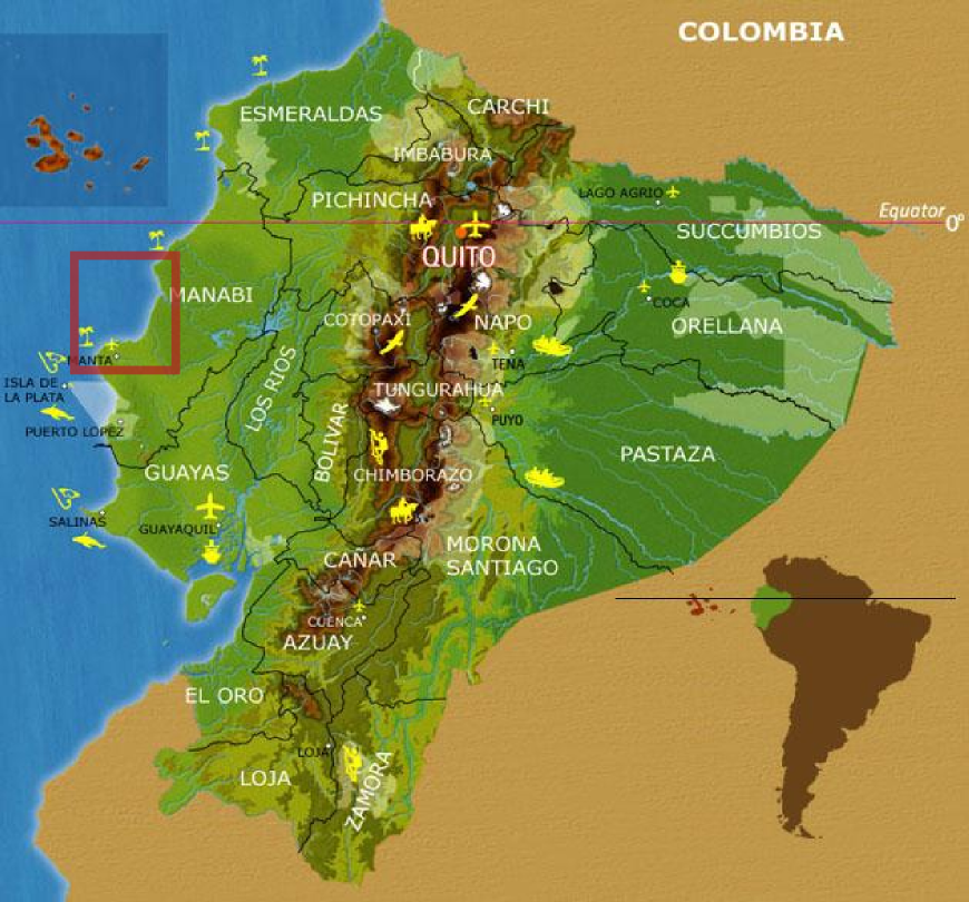 Map of Ecuador and the region where we work