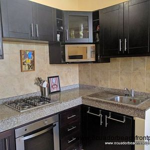 Kitchen comes with gas cooktop, oven, refrigerator, microwave in addition to plates, coffee maker, etc.