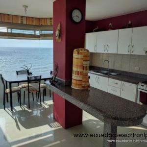 View of kitchen with an oceanview dining area