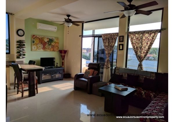 Looking toward the living area and oceanview balcony
