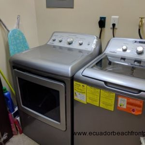 Laundry room with washer, dryer, iron/ironing board