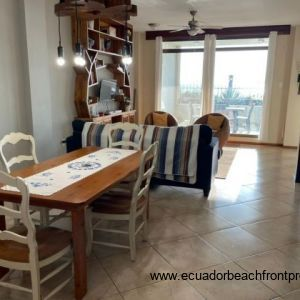 dining area and beachfront living room