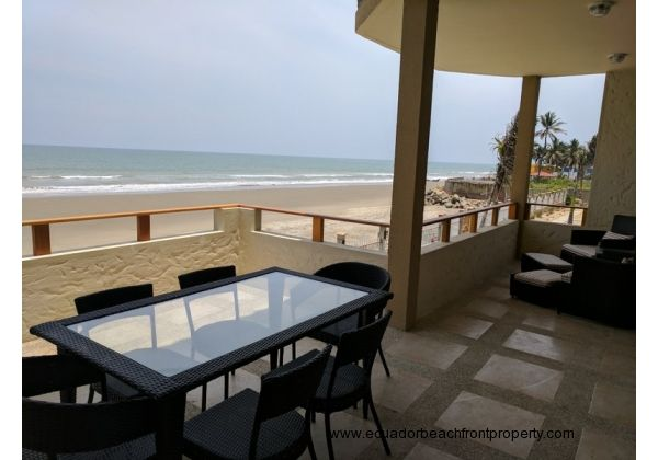 Spacious beachfront balcony with stunning views