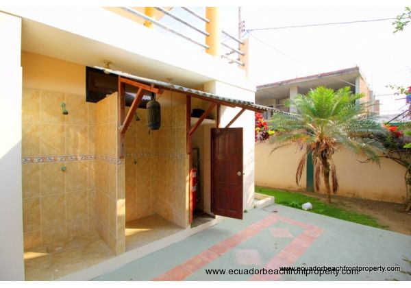 Outdoor showers and utility area
