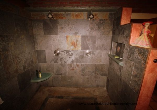 Slate shower with double showerheads