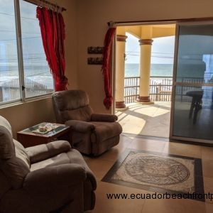 Spacious, covered beachfront balcony