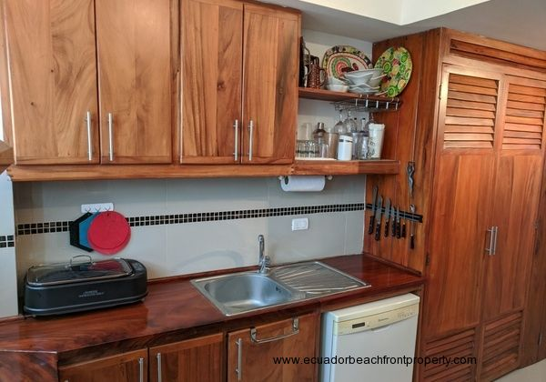 Hardwood cabinetry and counters