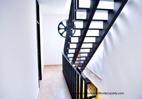 Stairway to rooftop terrace