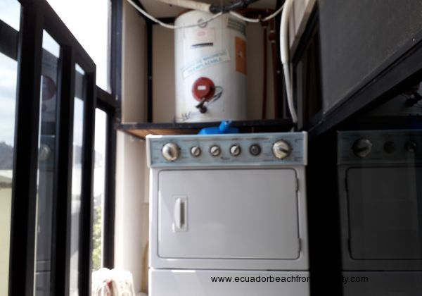 Water heater and stackable washer dryer.