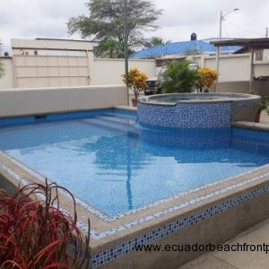 A good sized pool with jacuzzi set amongst some plants beside the gardens of the patio.