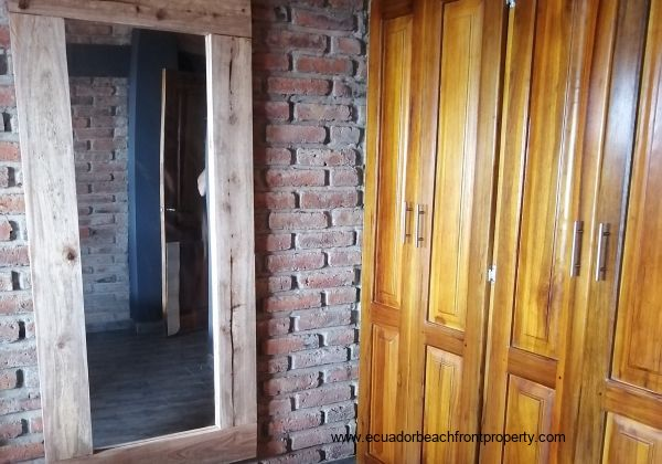 Solid wood built in clostes.