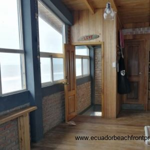 Upstairs area, currently used as an art studio. An amazing space that has many possibilities, looking out to sea!