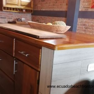 Solid wood kitchen doord and countertops.