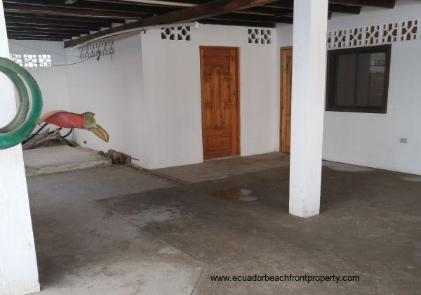 Large, enclosed garage area.