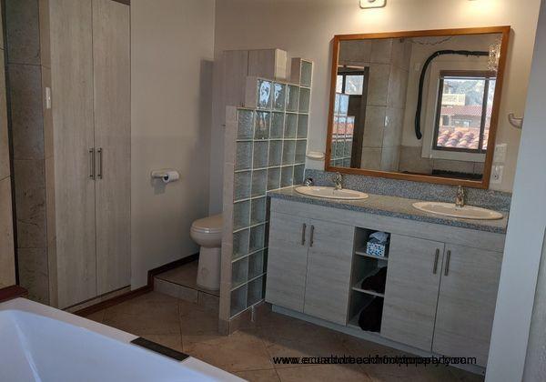 Large master bathroom.