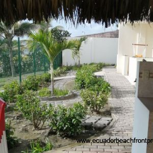 Garden and pathways between the building and the beach.