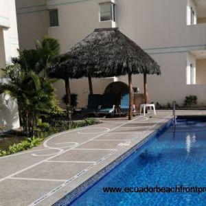 Cabana-style poolside seating.