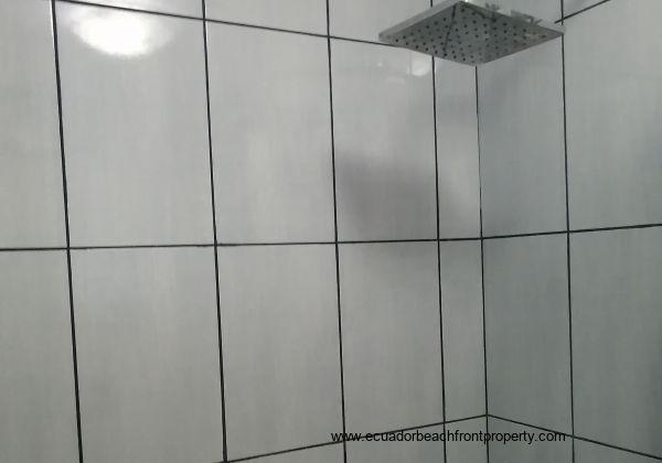 Shower in social bathroom.