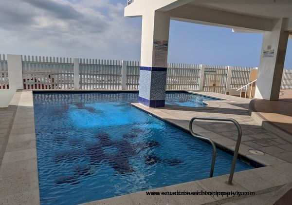 Beautiful sizeable pool with sea views.