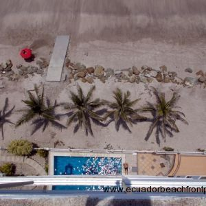 looking down at pool and beach